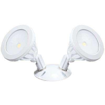 Wall-Mount 2-Light White LED Outdoor Flood Light