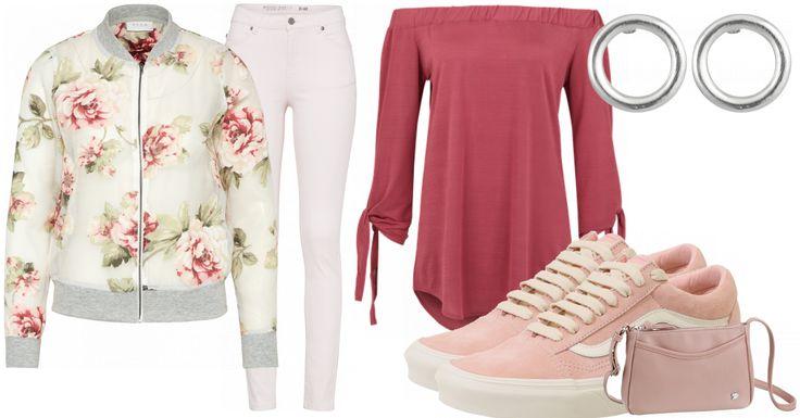 Diese wunderschöne Bomberjacke ruft den Sommer hervor. Dazu passend eine enganliegende weiße Hose, diese schöne schulterfreie Bluse und Vans in rosé. Die passende Tasche noch dazu und fertig ist der Look.