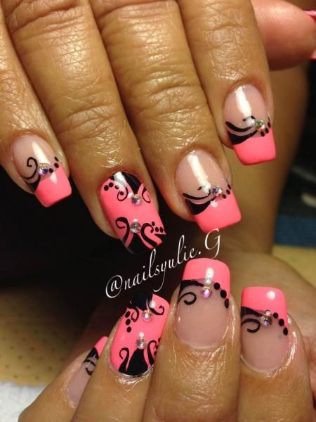 Yulie of Instagram's @NailsYulieG sparkled up these tips with a crisply painted natural design over hot pink polish., Fun French Manicures, Nail Art, Pink Tips, Cool Nail Designs, Nail Trends, Nail It! Magazine