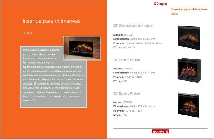Chimeneas eléctricas - Insertos http://www.ecovent.com.mx/pdf/ecovent_dimplex_catalogo.pdf