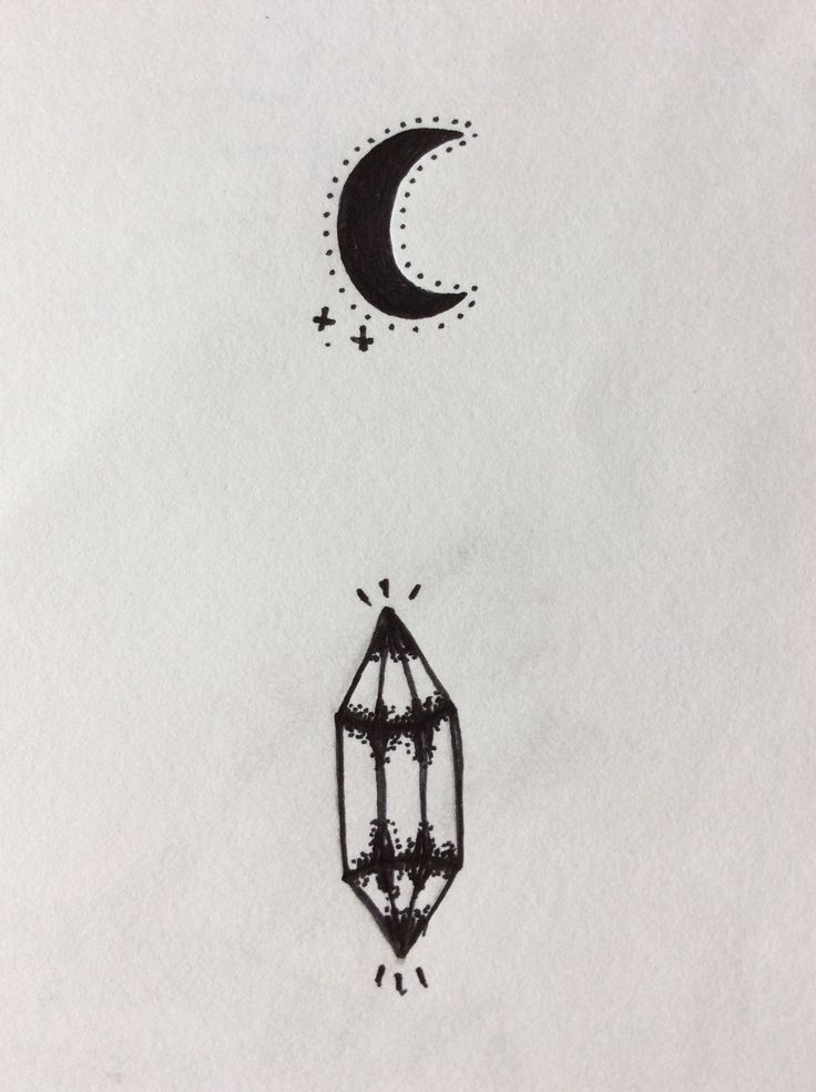 Small moon and crystal point with slight dot work detailing