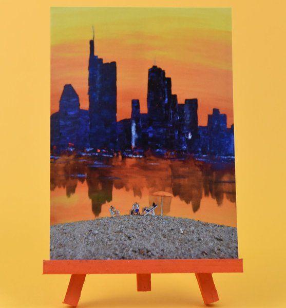 Postkarte Klaane Frankfurter Skyline Frankfurt von Heike Adam Stimmungen in Farbe auf DaWanda.com
