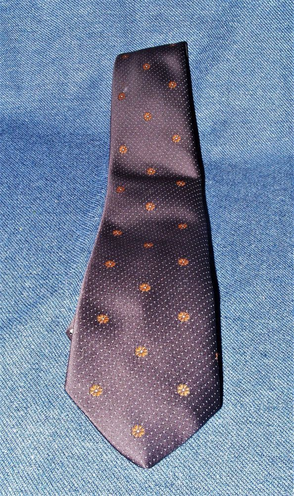 VTG Monsieur Bernard Men's Designer Brown & Floral Necktie Paris New York EUC #MonsieurBernard #Tie