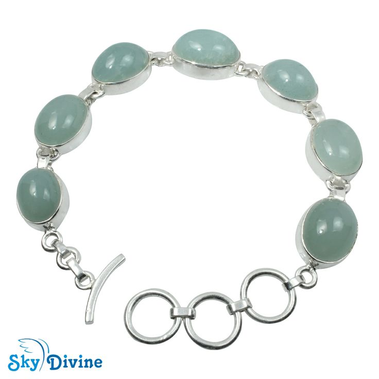 This  fresh looking milky aquamarine with smooth surface makes you look young, sweet and fresh all day long. The subdued colored  chunky oval moonstones pops against the shiny sterling silver. Your fashion will be mild but fabulous! Click on the image to BUY with free Shipping  | Sky Divine | 925 Sterling Silver Milky Aquamarine Bracelet, $231.91