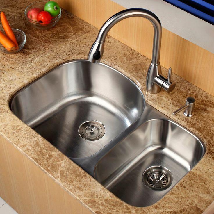 kraus kbu23 kpf2130 sd20 double basin undermount kitchen sink with faucet kitchen sinks - Kitchen Sink Double