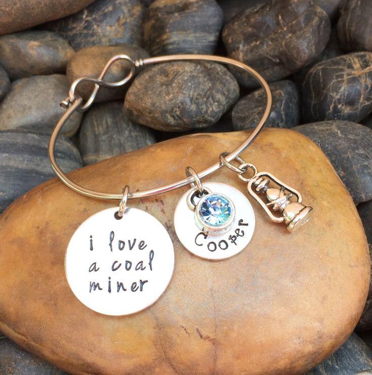 I Love A Coal Miner Bracelet | Coal Miner Jewelry | Coal Miners Wife Bracelet | Coal Miner's Girlfriend Jewelry | Coal Miner's Wife Bracelet by SecretHillStudio on Etsy https://www.etsy.com/listing/471044961/i-love-a-coal-miner-bracelet-coal-miner