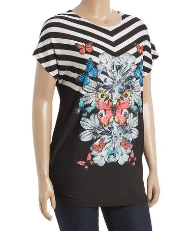 Loving this Black Butterfly Top - Plus on #zulily! #zulilyfinds