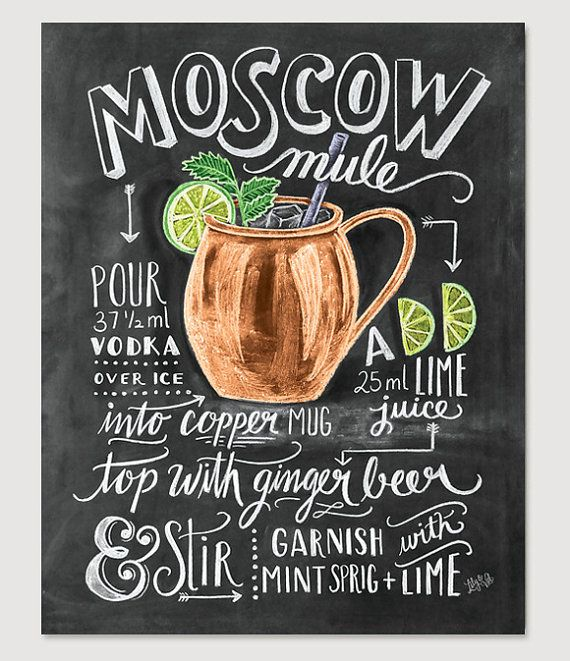 Moscow Mule Print Recipe Print Cocktails Bar Cart by LilyandVal