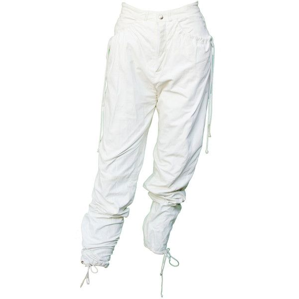 1980s Small Pants Leather Sweat White Slouch Lace Up Harem MC Hammer... (415 PLN) ❤ liked on Polyvore featuring pants, bottoms, jeans/pants, white leather pants, white pants, high-waisted leather pants, high waisted harem pants and white high waisted trousers