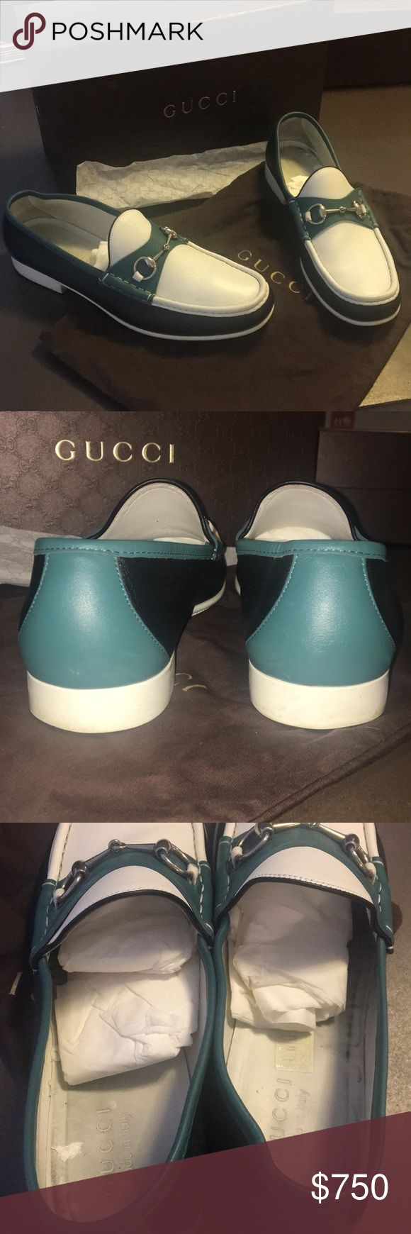 💯 Authentic Men's Gucci leather boat shoes *12 Men's authentic Gucci leather horse bit boat shoes. White with dark green & light green leather. Silver horse bit. Worn 3 times. Excellent used condition. With the exception of the 2 marks on the leather near the horse bit in last photo, The shoes are in pristine condition.  Comes with box, Gucci tissue paper & dust bag.  Size: 11 Italian= size 12 US Gucci Shoes Boat Shoes