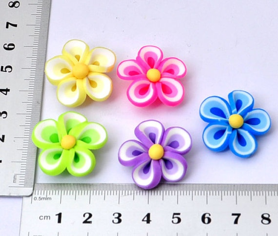 25MM Mixed colors bead flower  Polymer clay by Supplies