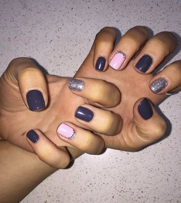 Purple pink silver Shellac Nails