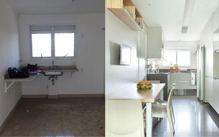 A transformação de uma cozinha com copa, moderna e clean.Projeto e decoração de Liliana  Zenaro Interiores, para apartamento de  250m2 na Vila Olímpia, SP. #lilianazenaro #decoracao #reforma #interiores #designdeinteriores #projeto #cozinha #copa