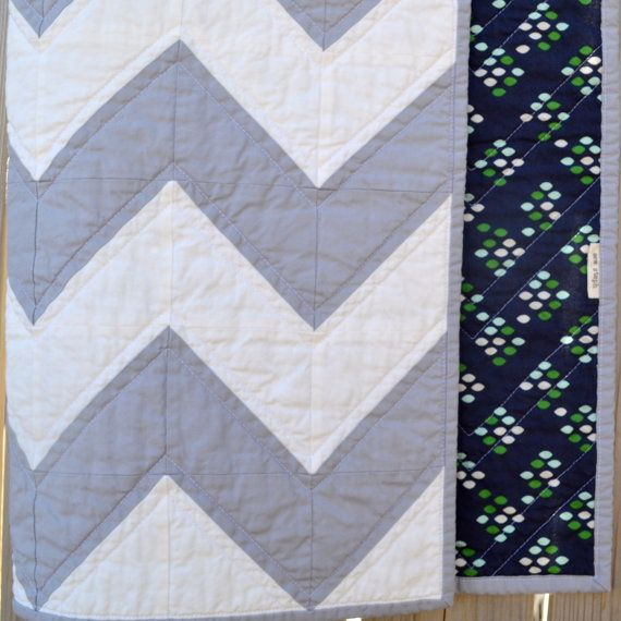 Modern Grey and Navy Chevron Baby Quilt by sewstephquilts on Etsy