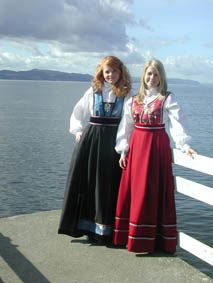 Festdrakts are costumes that are similar to bunads but are not historically accurate nor approved by the Norwegian Committee on Folk Costumes.  Festdrakt are less expensive than the bunad, but are still pretty and very Scandinavian-looking.