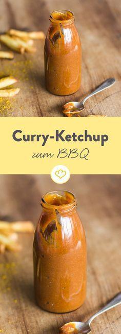 Tomatenketchup aus der eigenen Küche wird hier mit scharfem Currypulver verfeinert und schmeckt nicht nur zur Bratwurst und Pommes herrlich würzig.