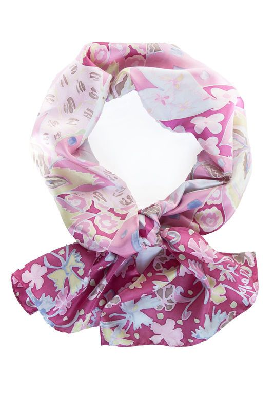 Agatha Pink - luxury, twill, floral designer art scarf - product images  of