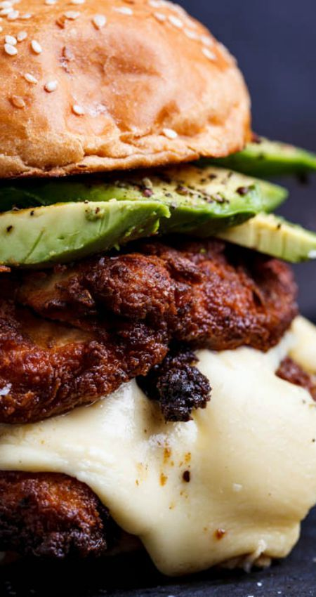 Crispy Chicken, Mozzarella and Avocado Burgers with Lemon Mayo ~ The chicken was incredibly tender and juicy and the crust was perfectly crisp... Everything you want in a crispy chicken burger!