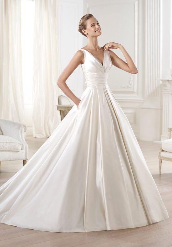 Amazing Princess satin bridal gown in satin with V neck draped sash to waist paneled
