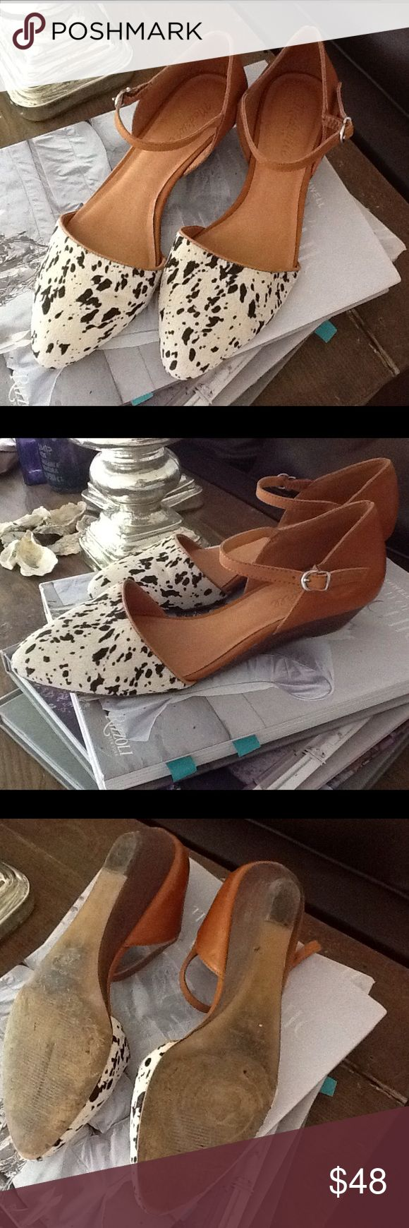 Madewell ankle strap shoe Honey brown with animal print toe. Super cute, and hard to find! Slight heel, see pics for example. Worn a few times, but overall good condition. Madewell Shoes