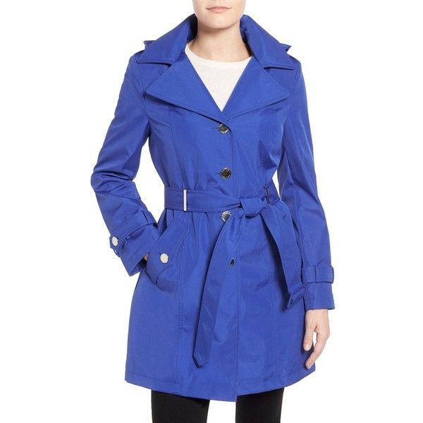 Calvin Klein Single Breasted Belted Trench Coat (460 BRL) ❤ liked on Polyvore featuring outerwear, coats, petite, royal blue, single breasted trench coat, blue trench coat, long sleeve coat, belted coat and blue coat