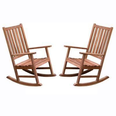 Belham Living Richmond Rocking Chairs - Set of 2 - RM030. Traditional straight back, slightly contoured seat. Heavily weighted rocking chairs; a great value. Durable Red Lauan (Mahogany) tropical hardwood. Strong galvanized steel bolts. Measures 32L x 24W x 41H inches Weight Capacity 250 lbs.