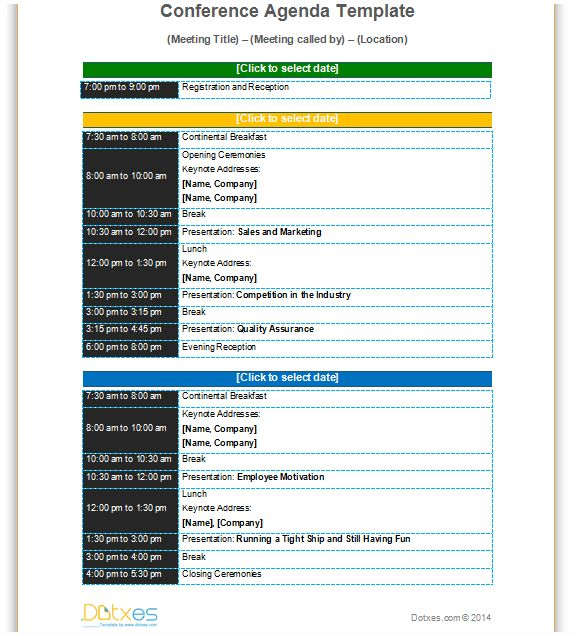 Conference meeting agenda template with color format to improve – Agenda for Meeting Example
