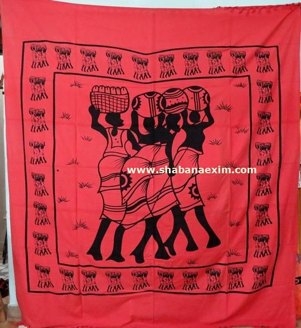 Three Woman African Tapestry No Description Product Id:	: 3048 Size:	: 150X220cm, 210X240 cm, Material:	: 100% Cotton Design:	: Printed Colors:	: Any Custom Color