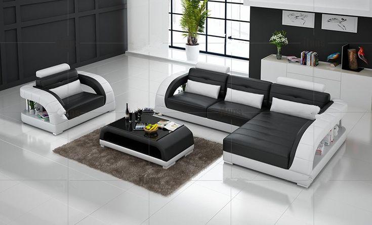 Sofá de canto de couro com couro em forma de l sofá de design moderno sofá de couro Preto em   de   no AliExpress.com | Alibaba Group