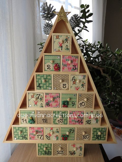 Wooden Tree Advent Calendar by queenvanna creations, via Flickr