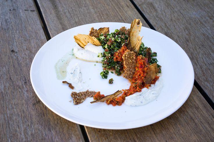"Mezze with Hemp Seed Tabbouleh, Eggplant ""bacon"", Preserved Lemon Yoghurt and more. #vegan #plantbased #veganfood"