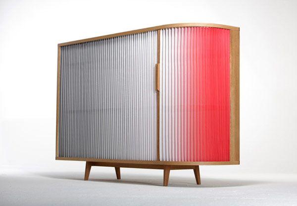 Light, Ombre Effect Plissee Sideboard by Anne Boenisch