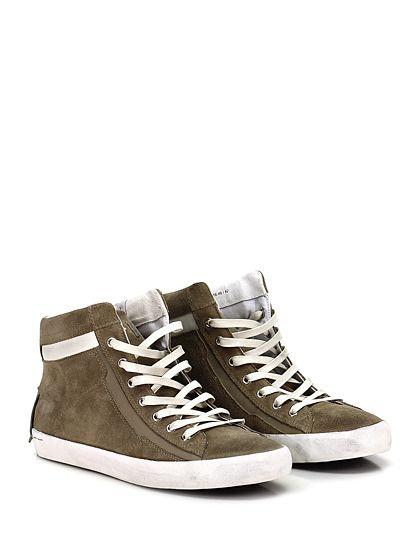 Crime - Sneakers - Uomo - Sneaker in camoscio vintage e pelle con zip su lato interno e suola in gomma vintage. Tacco 25. - TAUPE - € 139.00