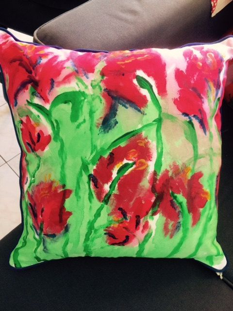 Summer red green and navy cushion cover hand by LouiseMKent