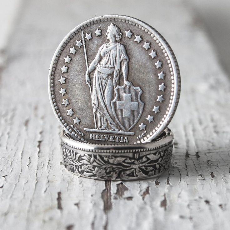 Кольцо из швейцарской монеты франк 1875–1967 года. Серебро 900 пробы. Ручная работа от русского дизайнера-ювелира. Доставка по России и СНГ.