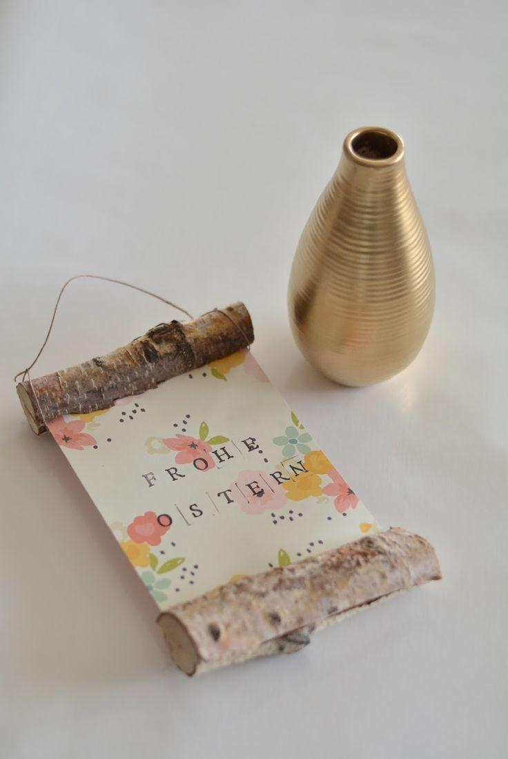 DIY Osterschild Und Goldene Vase