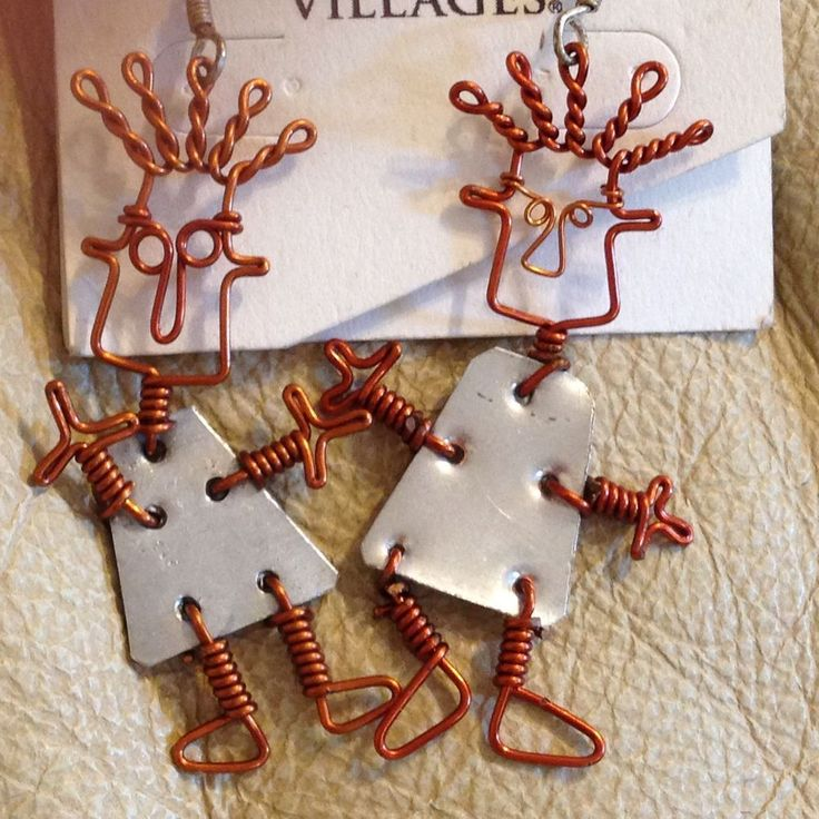 Ten Thousand Villages Earrings People Copper Aluminum Metal Pierced Handmade #TenThousandVillages