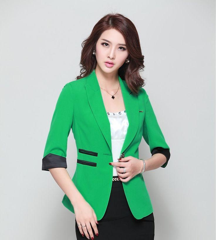 Aliexpress.com: Comprar Nuevo 2015 Summer Formal elegante uniforme verde diseño Blazers ropa de trabajo de negocios chaquetas Blaser Feminino mujer Outwear Coat Tops de salón de capa superior fiable proveedores en Fashion beauty women's store