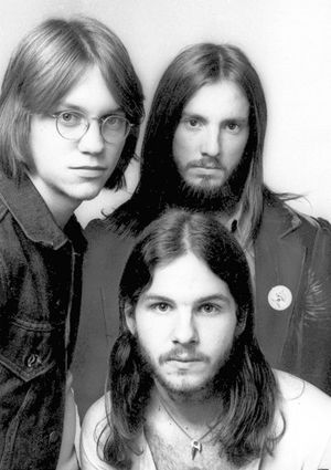 "Members of the band America are shown about 1972. Clockwise from left are Gerry Beckley, Dewey Bunnell and Dan Peek.  From 1972-1977 best known songs are ""A Horse with No Name"", ""Sister Golden Hair"" (both of which reached #1), ""Ventura Highway"", ""Tin Man"", ""Daisy Jane"", and ""Lonely People""."