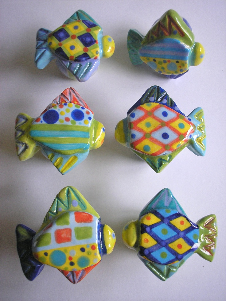 One Of A Kind Ceramic Fish Knob Drawer Pull Cabinet Pull
