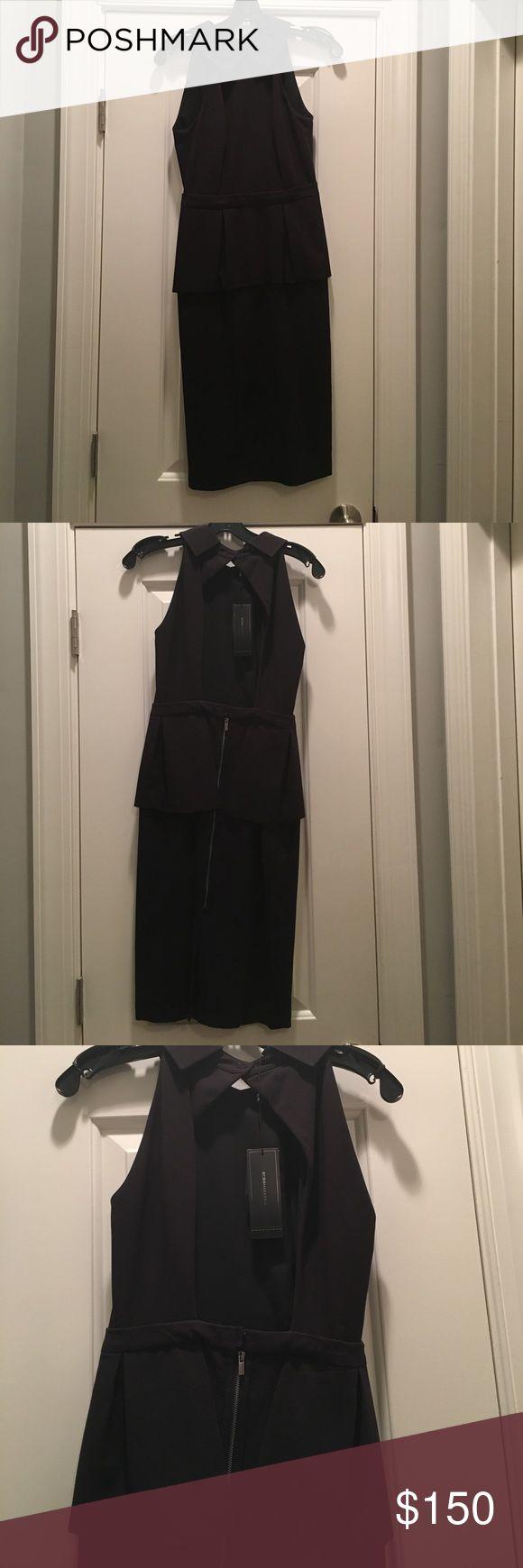 BCBG Maxazria Black Dress BCBG Black peplum dress with open back.  Size 0.  Never been worn.  Tag still on. BCBGMaxAzria Dresses Midi