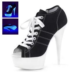 Sportliche High Heels Sneaker mit Plateau, welches im Schwarzlicht leuchtet. Größen: 35 - 42