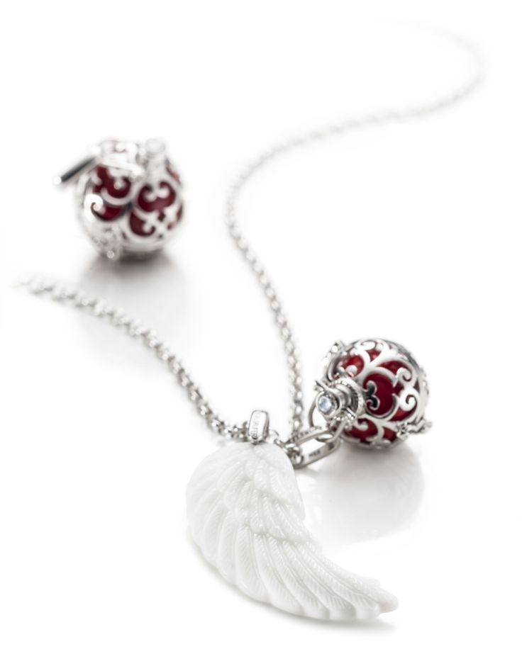 20mm (Medium) Silver Engelsrufer Cage Pendant & Red Soundball (R1499) with 45mm White Ceramic Silver Rhodium Plated Wing Pendant (R1999) on a 60cm Silver Rhodium Plated Anchor Chain (R999)