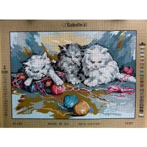 Kittens play with a ball of wool in this delightful tapestry canvas.