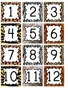Jungle / Safari Theme Calendar Numbers