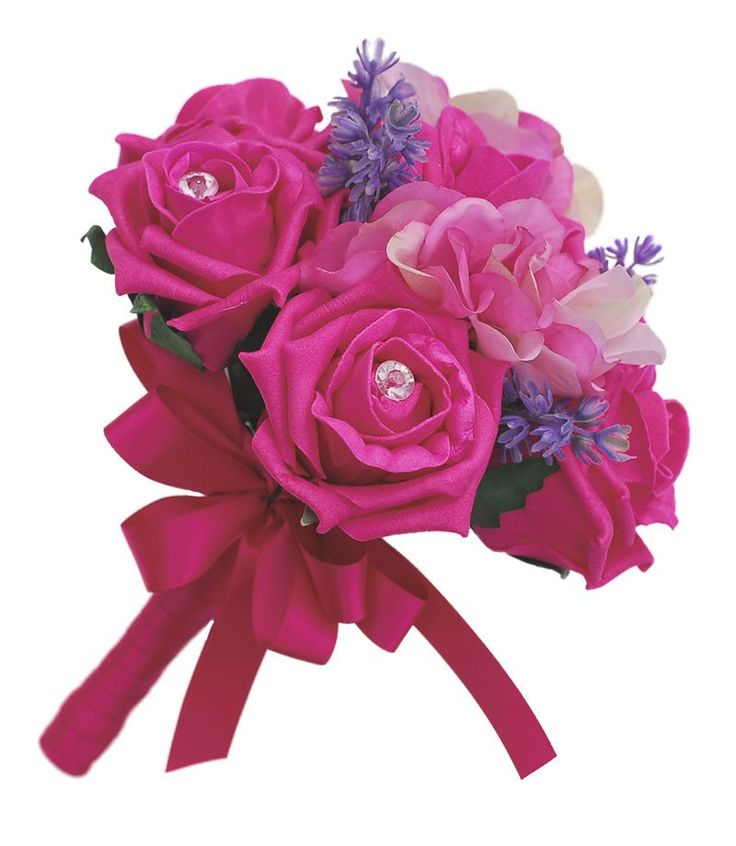 Flower Girl Cerise Pink Rose & Hydrangea Wedding Posy with Lavender