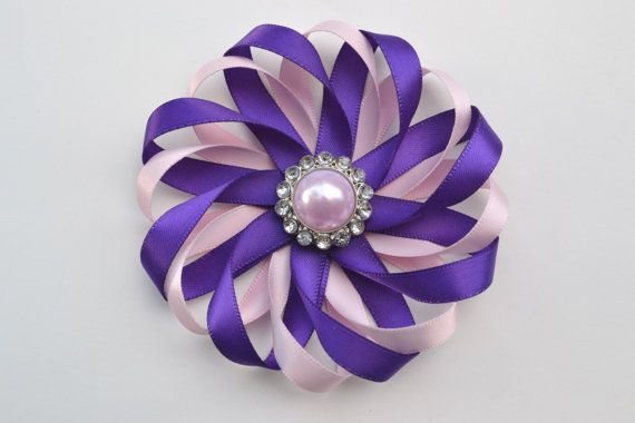 Pink and Purple Flower Hair Bow- Satin Hair Bow- Flower Hair Clip- Wedding Hair Clip- Hair Bow with Pearl Rhinestone- Girl Hair Accessory