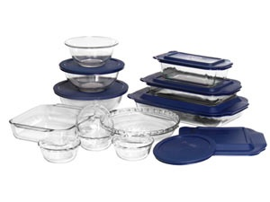 # holiday cooking 19-pc. Glass Bakeware Set with Plastic Lids by Pyrex by Pyrex at Cooking.com