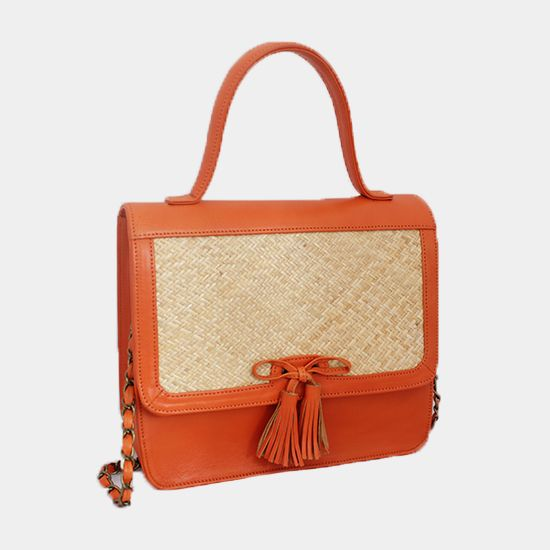 LK 01   Cow Skin with Rattan Combination, and Chain   Color: Orange, Yellow, Brown, Blue, and Fuchsia