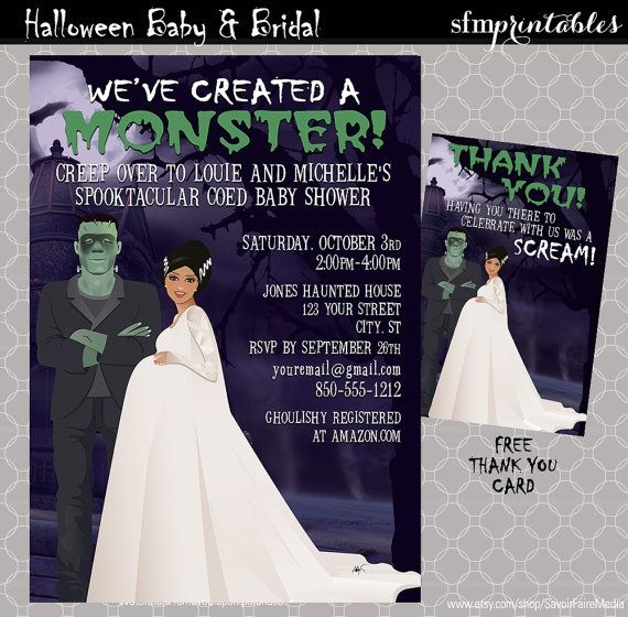 Halloween Baby Shower Invitations / Couples Shower We've Created Monster / Spooktacular Frankenstein Baby Mommy Spooky Fall Themed Hispanic by sfmprintables